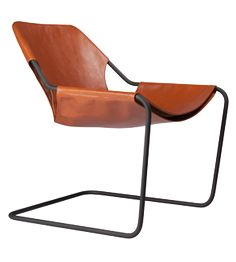 PAULISTANO TERRACOTTA LEATHER CHAIR WITH BLACK FRAME