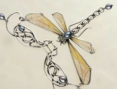Sterling Silver Dragonfly Necklace Pearls Peridot by VargoJewelry - stunning!!!