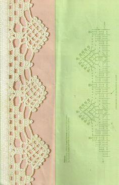 Crochet Boarders, Crochet Lace Edging, Crochet Diagram, Crochet Chart, Thread Crochet, Crochet Trim, Crochet Doilies, Crochet Stitches, Knit Crochet
