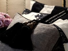 """La Petite Française"" , cushions' collection designed by Berengere Leroy. # home interiors # black # interior design"