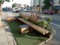 Colleen O'Toole is raising funds for Build a Parklet in Andersonville, Chicago on Kickstarter! Help us bring an urban oasis to Andersonville by participating in a project that will turn pavement into green open space. Urban Furniture, Street Furniture, Furniture Design, Urban Landscape, Landscape Design, Poket Park, Landscape Architecture, Architecture Design, Outdoor Seating