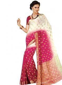 White and Pink Chiffon Saree
