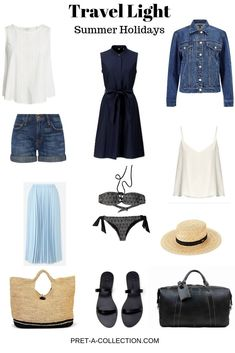 Travel Light: Summer Holidays - Pret-a-Collection Summer is in a full swing and I was thinking what would I pack for a week-long beach holiday. The easiest approach to a capsule wardrobe is to create a year-lon Holiday Wardrobe, Holiday Outfits, Summer Wardrobe, Capsule Wardrobe, Minimalist Outfit, Long Beach, Summer Beach, Classy Outfit, Travel Capsule