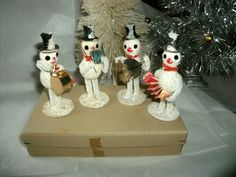 Vintage Set of 4 Christmas Snowmen Band Original Box