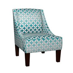 Venda Sloped Arm Chair featuring Cheater Quilt Cathedral Windows Med - White Aqua by wickedrefined, this fabric is available at Spoonflower.com