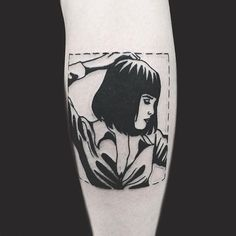 Pulp Fiction tattoo by Matt Cooley. MattCooley blackwork pulpfiction