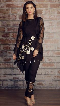 For price and details contact on WhatsApp# Pakistani Dress Design, Pakistani Outfits, Indian Outfits, Stylish Dresses, Women's Fashion Dresses, All Black Dresses, Kurta Designs, Two Piece Dress, Indian Designer Wear