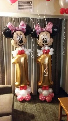 Minnie Mouse columns for a 11th birthday.  Sheila Moody's Balloons and More