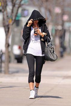 Irina Shayk Leggings - Irina Shayk kept a low profile in NYC wearing capri leggings and sneakers.