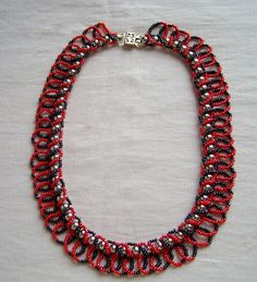 Free pattern for necklace Casino - another easy 2 needle loopy loopy  ~ Seed Bead Tutorials