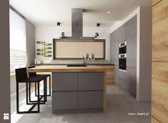 Kuchnia w szarości i drewnie - zdjęcie od Daart