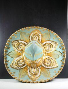 Vintage Mexican Sombrero Hat Aqua Gold White