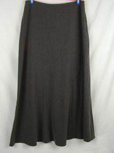 Larry Levine Stretch Sport Gray Skirt Size 6 Modest No Slits Side Zip  #LarryLevine #ALine
