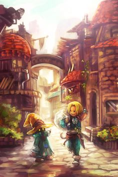 Zidane and Vivi in the best fan art I've ever seen for Final Fantasy IX. Art by tsuyomaru.