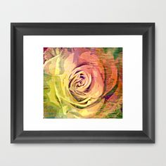 Vintage Painterly Autumn Rose Abstract Framed Art Prints by Judy Palkimas