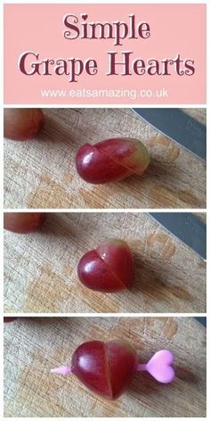 SOMETHING MY GIRLS WOULD MAKE FOR THEIR KIDS: Eats Amazing - Turn grapes into hearts for a cute valentines day snack