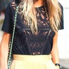 Black shirt w/ see-through design