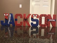 Spiderman Super Heroes Custom Name Letters price is per Spiderman Theme Party, Spiderman Kids, Superhero Party, Spiderman Birthday Ideas, Superhero Room Decor, Fête Spider Man, Fete Marie, Marvel Room, Minnie Mouse