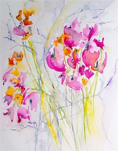 "Original art for sale at UGallery.com | Wildflowers by Karin Johannesson | $275 | watercolor painting | 14"" h x 11"" w 