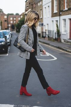 d5da022492 Emma Hill wears Check blazer, turtleneck sweater, black straight leg jeans,  red suede