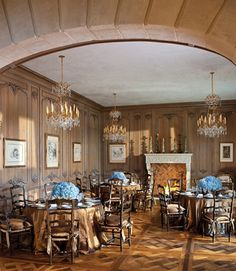 Triple Dining Tables, in the Dining Room of  Designer Betty Lou Phillips