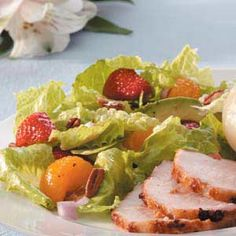 "Strawberry Salad with Cinnamon Vinaigrette Recipe -""This is my husband's favorite salad…hands down!"" says Nancy Tafoya of Fort Collins, Colorado. ""I've taken it to fancy dinner parties as well as camping trips, and everyone always lines up for seconds. The unique vinaigrette has a little kick to it that people truly enjoy."""
