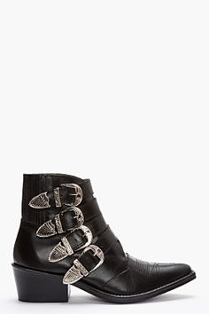 Toga Black & Silver Western Buckle Boot for women | SSENSE