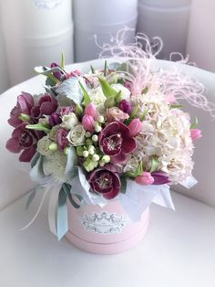Beautiful Rose Flowers, Pastel Flowers, Amazing Flowers, Silk Flowers, Hat Box Flowers, Flower Boxes, Happy Birthday Flower, Pink Plant, Spring Wedding Flowers