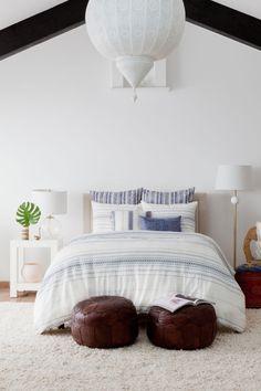 Indigo Stripe: duvet,rectangular blue sham, striped and tassled rectangular sham, large white striped sham, blue striped Euro sham