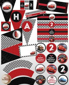 Disney Pixar Cars Custom Printable Birthday Party Package Kit Lightening McQueen Racing Checkered Flag, Red, Black. $20.00, via Etsy.