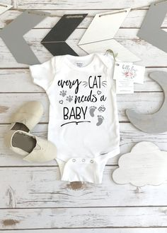 Cat Onesie®, Every Cat Needs a Baby, Pregnancy Announcement, Cat Shirt, Pregnancy Reveal Funny Baby Shirts, Funny Babies, Cute Babies, Nephew Gifts, Aunt Gifts, Baby Boys, Dad Baby, Adoption Gifts, Cute Baby Gifts