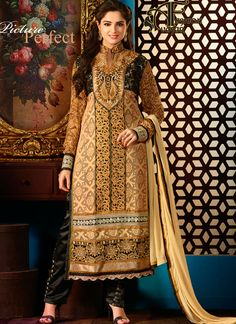 Elegant Beige Salwar Kameez.Authentic Beauty Can Come Out From Your Dressing Style And Design With This Beige Faux Georgette Salwar Kameez. The Ethnic Lace|Resham|Stones Work For The Attire Adds A Sign Of Magnificence Statement For Your Look.