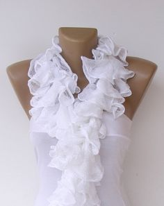 white wedding women scarf, Knitted Ruffled Scarf, white wedding, 2013 NEW TREND SCARF,accessories, for her, fashion accessories
