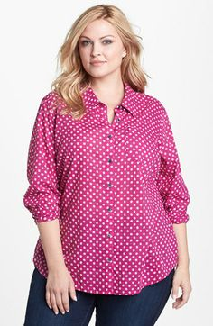 comes in grey Caslon® Cotton Blouse (Plus Size) available at #Nordstrom