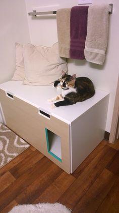 Ikea hack - stuva storage bench to a hideaway litter box #diy #pet