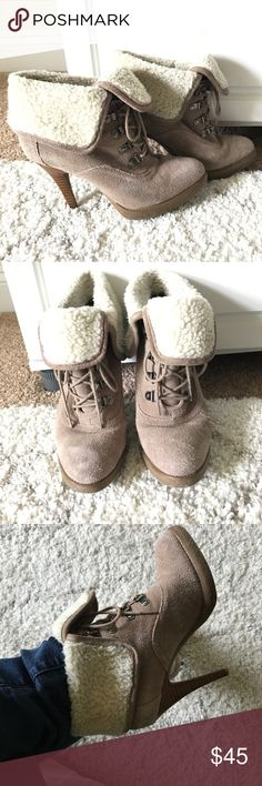 Aldo Shearling Booties Incredibly manageable 3 inch heel! Aldo Shoes Ankle Boots & Booties