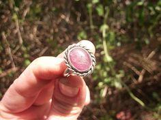 Ruby Crystal Ring Ring Sterling Silver Semi Precious Gemstone Jewel Handmade Artisan Design Silverwork Heart Chakra Handcut Ruby Ring