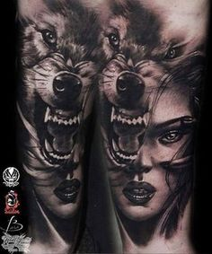 Stunning black and grey piece from Pro Team artist Tattoo Girls, Wolf Girl Tattoos, Wolf Tattoos For Women, Girl Face Tattoo, Cool Tattoos For Guys, Trendy Tattoos, Kopf Tattoo, 1 Tattoo, Cover Tattoo
