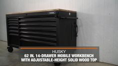 Husky Heavy-Duty 62 in. W 14-Drawer, Deep Tool Chest Mobile Workbench in Matte Black with Adjustable-Height Hardwood Top-HOLC6214BB1MYS - The Home Depot Tool Storage Cabinets, Locker Storage, Husky Tool Box, Mobile Workbench, Soft Close Drawer Slides, Belt Grinder, Electronic Recycling, Recycling Programs, Innovation Design