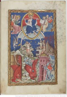 Apocalipsis in dietsche Apocalypse, The Last Judgment, Book Of Hours, Blessed Virgin Mary, Bnf, Medieval Art, Triptych, Christian Art, Illuminated Manuscript