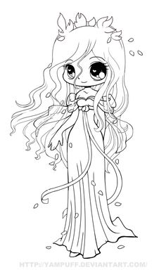 Giselle Chibi Lineart by *YamPuff on deviantART
