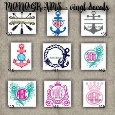 MONOGRAM vinyl decals | name | initial | decal | sticker | car decals | car stickers | laptop sticker - 37-45