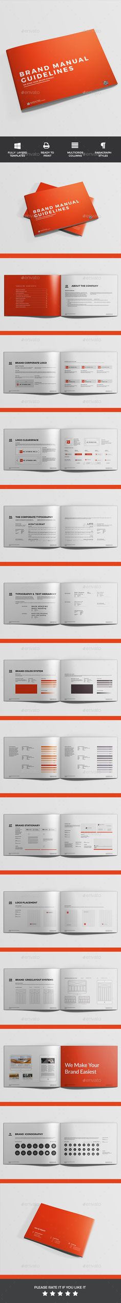 Brand Manual Template InDesign INDD #design Download http - it manual template