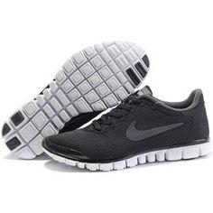 Mens Nike Free 3.0 V2 Black Dark Grey White Shoes