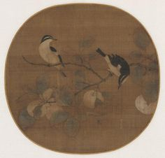 Birds on a Peach Branch, 12th Century, China, Southern Song dynasty (1127-1279), album leaf, ink and light color on silk, Overall - h:24.80 w:25.70 cm (h:9 3/4 w:10 1/16 inches). The Kelvin Smith Collection, given by Mrs. Kelvin Smith 1985.367, Cleveland Museum of Art