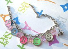 Paris Alphabet Charm Bracelet Pastel Springtime by ItsAllAboutParis on Etsy