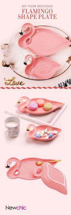 US$8.95Ceramic Snacks Dish Breakfast Tray Candy Pink Flamingo Shape Dessert Fruit Plate#newchic#kitchen#pink#christmas