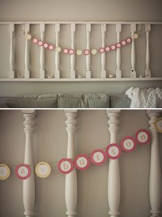 Cute idea for babyshower, and I love the fence for decoration above the couch.