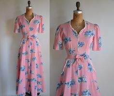 vintage rare 1940s Wild Cosmia pink floral cotton dress