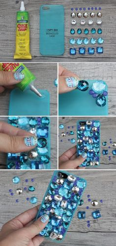 Diy glitter telefoonhoesje